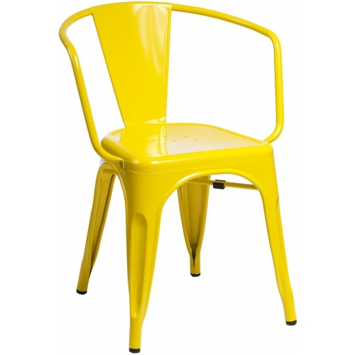 Paris Arms insp. Tolix yellow metal chair with armrests D2.Design