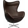 Designerski Fotel skórzany Jajo Chair Leather Brązowy D2.Design do salonu i sypialni.