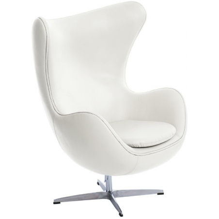 Jajo Chair Leather white swivel armchair D2.Design
