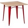 Industrialny Stół drewniany Paris Wood Naturalny 76x76 Czerwony D2.Design do kuchni, jadalni i salonu.