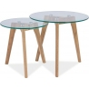 Designerski Komplet okrągłych stolików szklanych Oslo Przeźroczysty/Dąb Signal do salonu.
