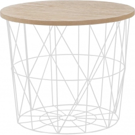 Mariffa Wood 42 light wood&white wire coffee table Halmar