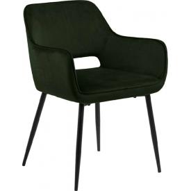 Designerskie Krzesło tapicerowane z podłokietnikami Ranja Oliwkowe Actona do jadalni,kuchni i salonu.