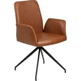 Designerskie Krzesło fotelowe skórzane Naya Brązowe Actona do jadalni,kuchni i salonu.