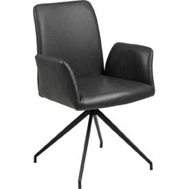 Designerskie Krzesło fotelowe skórzane Naya Czarne Actona do jadalni,kuchni i salonu.