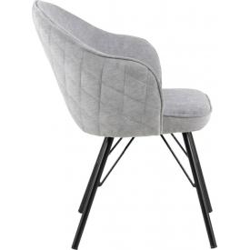 Designerski Fotel tapicerowany Lusso Halmar do salonu. Kolor beżowy, ciemno niebieski, ciemny popiel, Styl minimalistyczny.