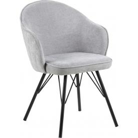 Designerskie Krzesło fotelowe tapicerowane Mitzie Steal Szare Actona do jadalni,kuchni i salonu.