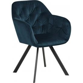 Designerskie Krzesło welurowe z podłokietnikami Lola Granatowe Actona do jadalni,kuchni i salonu.