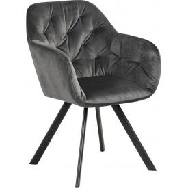 Designerskie Krzesło welurowe z podłokietnikami Lola Szare Actona do jadalni,kuchni i salonu.