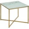 Stylowy Stolik kawowy glamour na złotej podstawie Alisma 50x50 marmur/złoty Actona do salonu.
