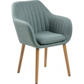 Krzesło tapicerowane z podłokietnikami Emilia oliwkowy/dąb Actona do jadalni,kuchni i salonu.
