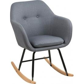 Krzesło bujane tapicerowane Emilia szary/dąb Actona do jadalni,kuchni i salonu.