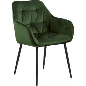 Wygodne Krzesło welurowe pikowane Brooke Zielone Actona do salonu i jadalni.