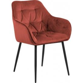 Wygodne Krzesło welurowe pikowane Brooke Koralowe Actona do salonu i jadalni.