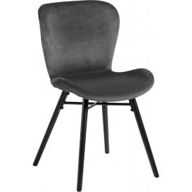 Stylowe i designerskie Krzesło welurowe Batilda Ciemno szare Actona do salonu i jadalni.