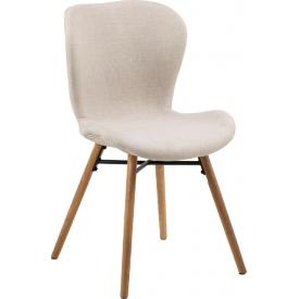 Stylowe i designerskie Krzesło tapicerowane skandynawskie Batilda Beżowe Actona do salonu i jadalni.