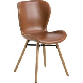 Stylowe i designerskie Krzesło z ekoskóry Batilda Retro Brąz/Dąb Actona do salonu i jadalni.
