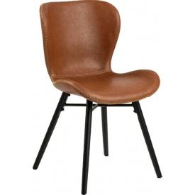 Stylowe i designerskie Krzesło z ekoskóry Batilda Retro Brąz/Czarny Actona do salonu i jadalni.