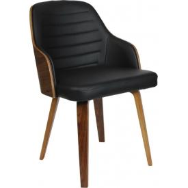 Stylowe Krzesło z podłokietnikami Nash Czarny/Orzech Intesi do kuchni, jadalni i salonu.
