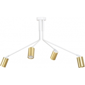 Verno IV white&gold semi flush ceiling light with adjustable arms and 4 lights Emibig