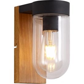Elewacyjny Kinkiet zewnętrzny szklany Cabar Ciemne drewno/Czarny Brilliant na taras i nad drzwi.