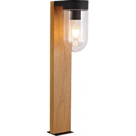 Lampa zewnętrzna - Słupek ogrodowy szklany Cabar 55 Ciemne drewno/Czarny Brilliant.