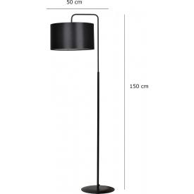 Stylowa Szklana lampa podłogowa Julius Lucie do salonu. Kolor dymiony szary, Styl industrialny.