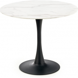 Ambrosio 90 marble&black glass round one leg dining table Halmar