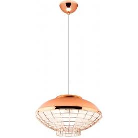 Stylowa Lampa miedziana wisząca z klatką Birdcalla 40 różowo-złota Auhilon do salonu i sypialni.