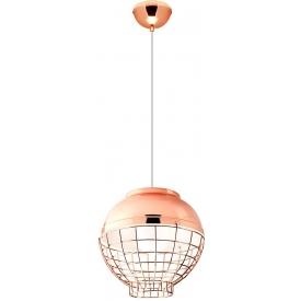 Stylowa Lampa miedziana wisząca z klatką Birdcalla 30 różowo-złota Auhilon do salonu i sypialni.