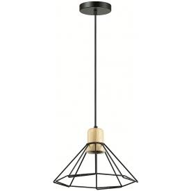 Stylowa Lampa wisząca druciana geometrczna Loft 28 czarna Auhilon salonu i sypialni.