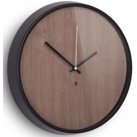 Madera dark wood round wall clock Umbra