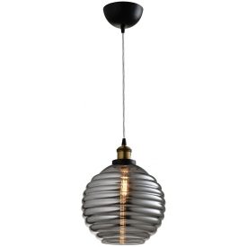 Stylowa Lampa wisząca szklana retro Tobias 25 szkło dymione Auhilon do salonu, kuchni i sypialni.