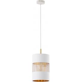 Stylowa Lampa wisząca tuba ażurowa Bogart 20 biało-złota Tk Lighting nad stół.