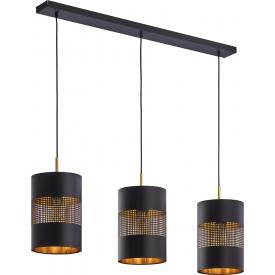 Stylowa Lampa wisząca potrójna ażurowa Bogart czarno-złota Tk Lighting nad stół.