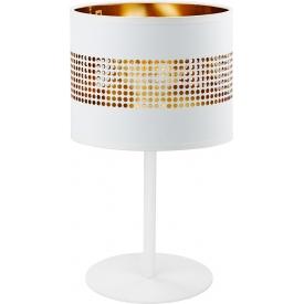 Stylowa Lampa stołowa z abażurem Tago biało-złota Tk Lighting do sypialni i salonu.