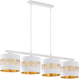 Stylowa Lampa wisząca ażurowa z abażurami Tago 95 biało-złota Tk Lighting do jadalni nad stół.