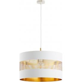Stylowa Lampa wisząca okrągła ażurowa Tago 50 biało-złota Tk Lighting do jadalni nad stół.