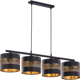 Stylowa Lampa wisząca ażurowa z abażurami Tago 95 czarno-złota Tk Lighting do jadalni nad stół.