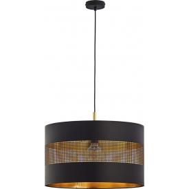 Stylowa Lampa wisząca okrągła ażurowa Tago 50 czarno-złota Tk Lighting do jadalni nad stół.