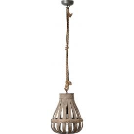 Skandynawska Lampa bambusowa wisząca Kaminika 33 natrualna Brilliant nad stół w jadalni.