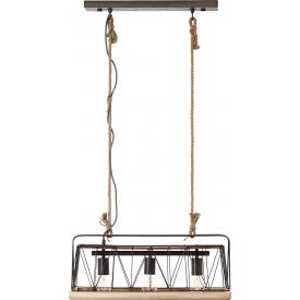 Lampa wisząca druciana industrialna Narcy 59 stal palona/drewno Brilliant nad stół.
