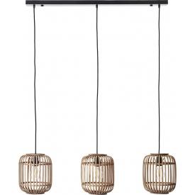 Dekoracyjna Lampa rattanowa wisząca boho Woodrow III Brilliant do salonu, kuchni i sypialni.