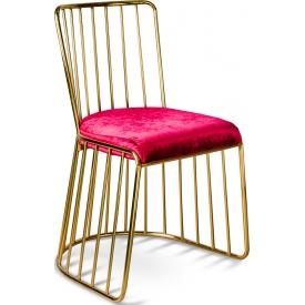 Designerskie Krzesło welurowe glamour na złotej podstawie Fiji czerwone Gilli do kuchni, jadalni i gabinetu.