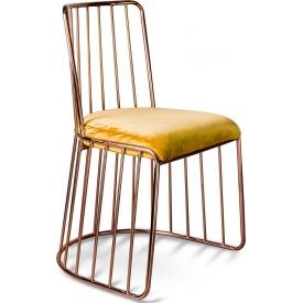 Designerskie Krzesło welurowe glamour na miedzianej podstawie Fiji żółte Gilli do kuchni, jadalni i gabinetu.