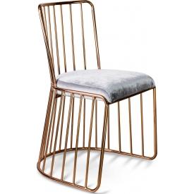 Designerskie Krzesło druciane welurowe glamour na miedzianej podstawie Fiji srebrne Gilli do kuchni, jadalni i gabinetu.