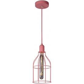 Stylowa Lampa wisząca druciana młodzieżowa Paulien 15 różowa Lucide do kuchni, jadalni i salonu.