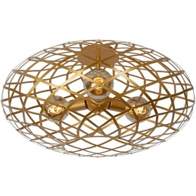 Stylowy Plafon druciany glamour Wolfram 65 złoty Lucide do kuchni, przedpokoju i sypialni.
