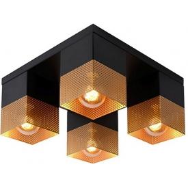 Stylowy Plafon ażurowy kwadratowy Renate czarno-mosiężny Lucide do kuchni, przedpokoju i sypialni.
