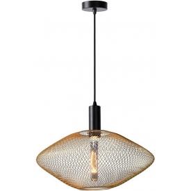 Stylowa Lampa wisząca ażurowa geometryczna Mesh 45 mosiężna Lucide do kuchni, jadalni i salonu.
